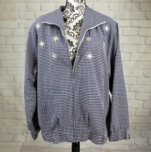 Alfred Dunner size 16 check print zip front jacket